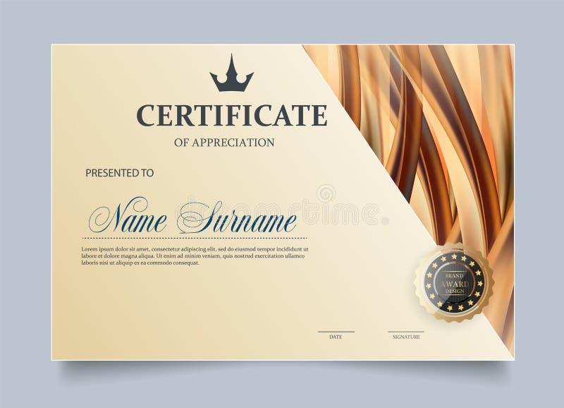 Zertifikat der Anerkennungsschablone vektor abbildung