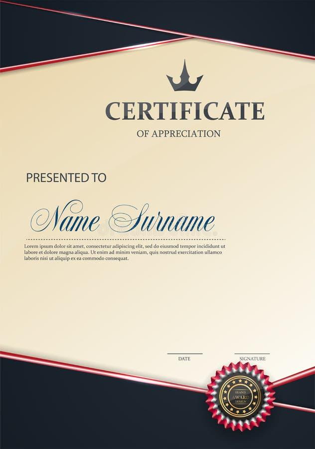 Zertifikat der Anerkennungsschablone Tendenzart EPS10 stock abbildung