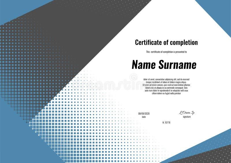 Zertifikat der Fertigstellung Schablonenentwurf mit modernem Geometrieformhintergrund Zertifikat der Anerkennung, Diplom vektor abbildung