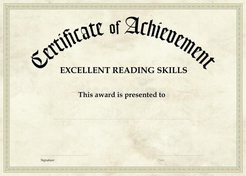 Zertifikat der Leistung - ausgezeichnete Lesung stock abbildung
