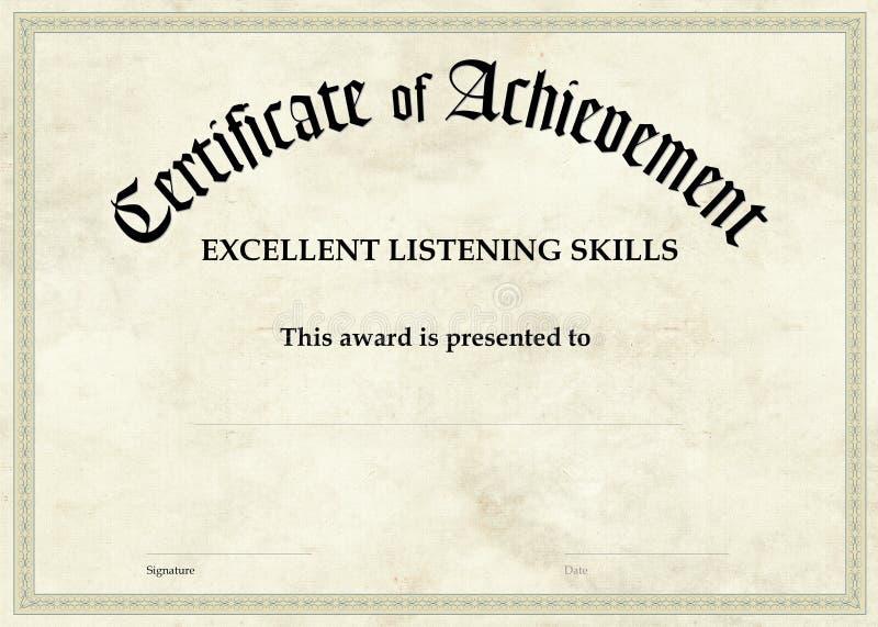 Zertifikat der Leistung - ausgezeichnetes Hören vektor abbildung