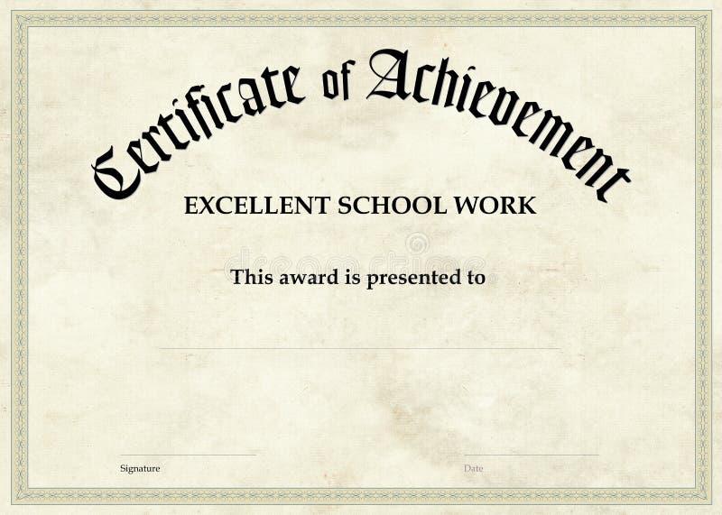 Zertifikat der Leistung - Schularbeit stock abbildung