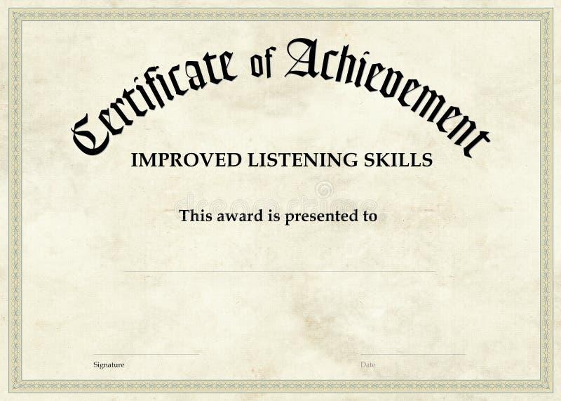 Zertifikat der Leistung - verbessertes Hören lizenzfreie abbildung