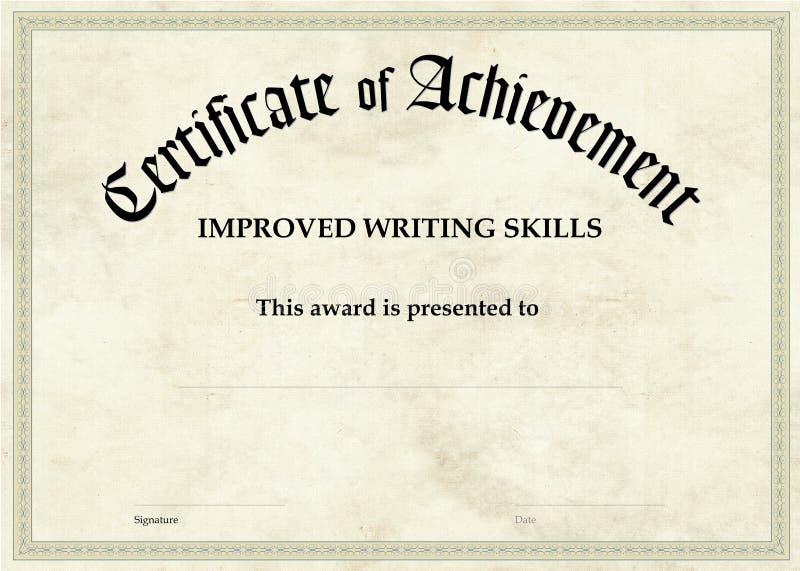 Zertifikat der Leistung - verbessertes Schreiben stock abbildung