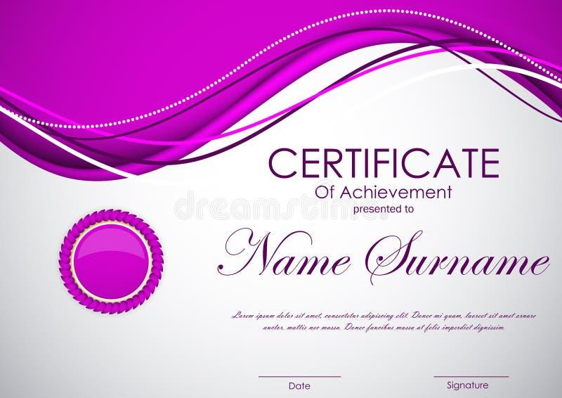 Zertifikat der Leistungsschablone lizenzfreie abbildung