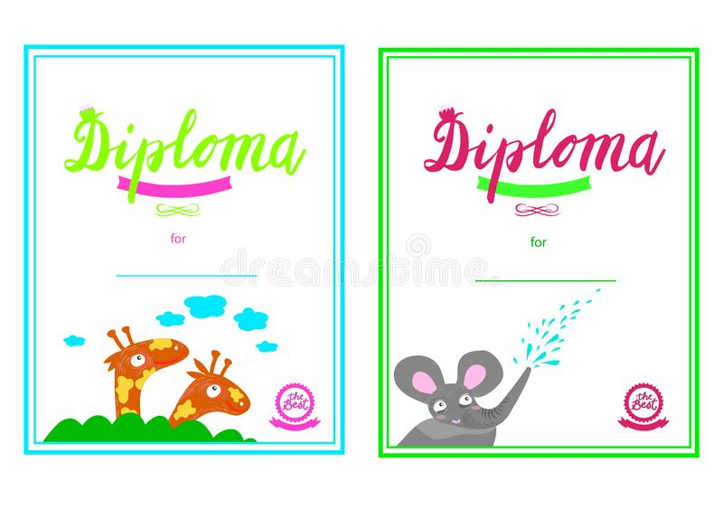 Zertifikat des Kindergartens und grundlegendes, Diplomschablonen-Diplomschablone, Diplomschablone für Kindergartenstudenten, Cert stock abbildung