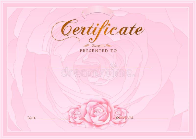 Zertifikat, Diplom der Fertigstellung (Rosen-Designschablone, Blumenhintergrund) mit Blumen, Muster, Grenze, Rahmen lizenzfreie abbildung