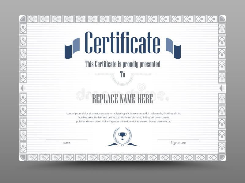 Zertifikat, Diplom der Fertigstellung, Zertifikat von Leistung d lizenzfreie abbildung