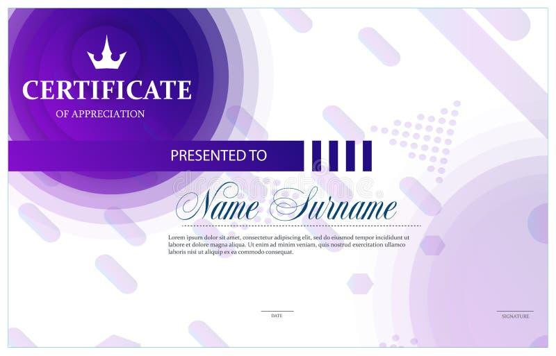 Zertifikat, Diplom der Fertigstellungsschablone stock abbildung