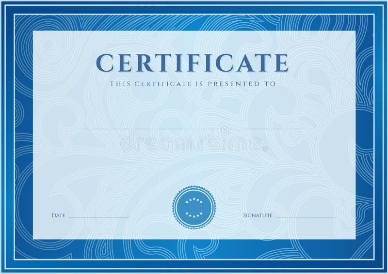 Zertifikat, Diplomschablone. Preismuster stock abbildung