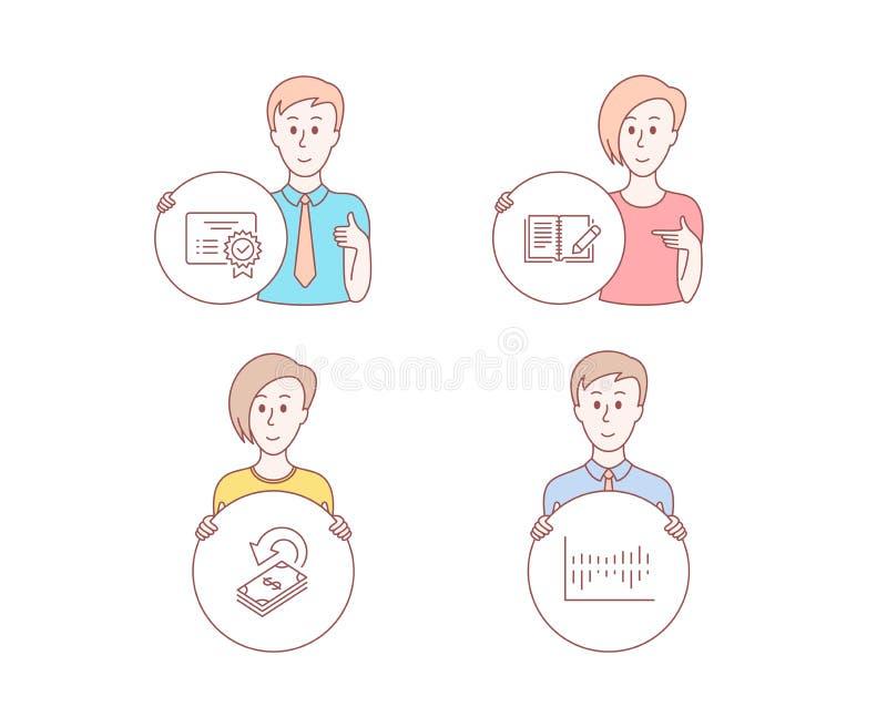 Zertifikat-, Feedback- und Cashback-Ikonen Spaltendiagrammzeichen Vektor vektor abbildung