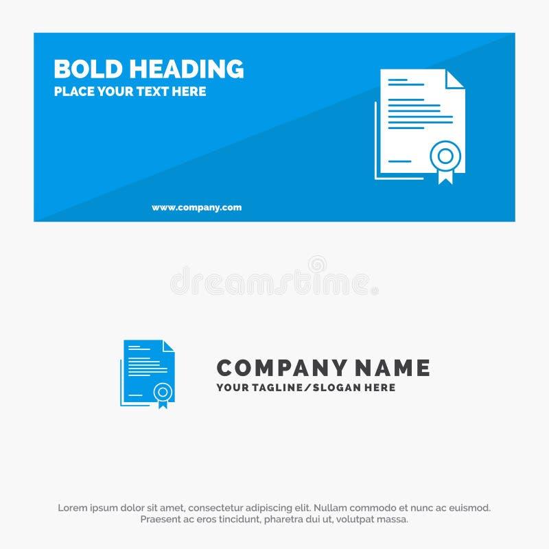 Zertifikat, Geschäft, Diplom, Rechtsdokument, Buchstabe, feste Ikonen-Website-Papierfahne und Geschäft Logo Template stock abbildung