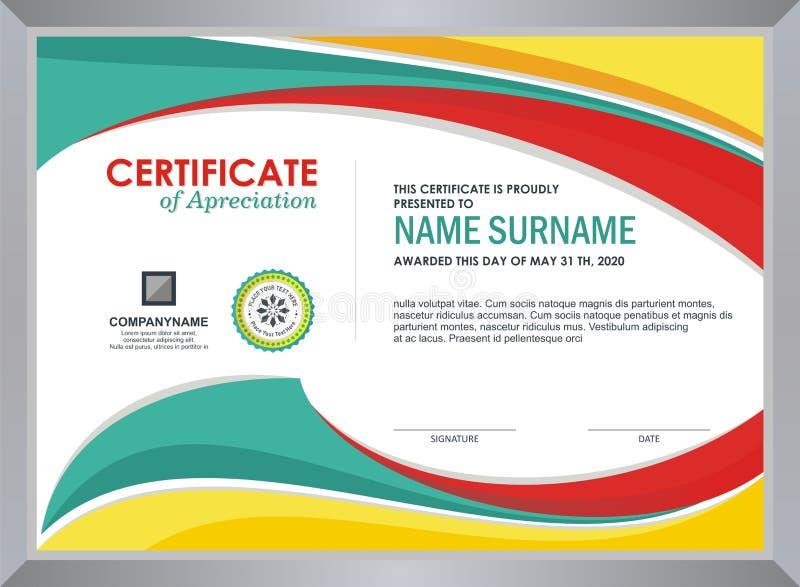 Zertifikat mit stilvollem buntem Wellendesign stock abbildung