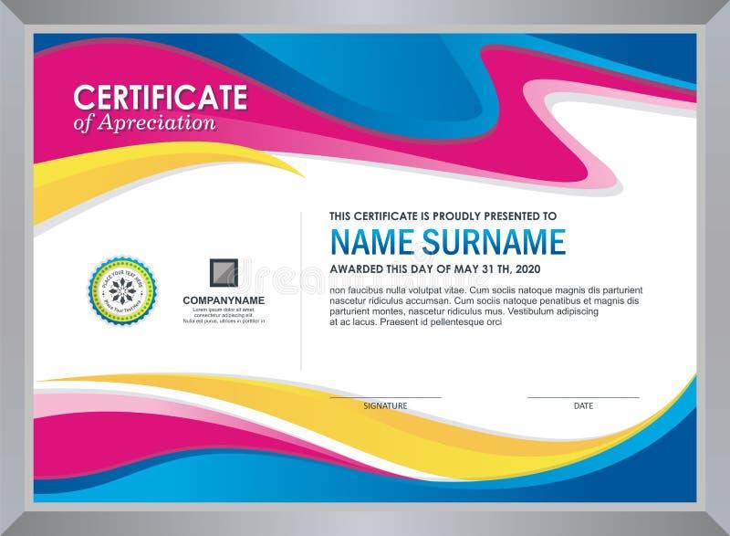Zertifikat mit stilvollem buntem Wellendesign lizenzfreie abbildung