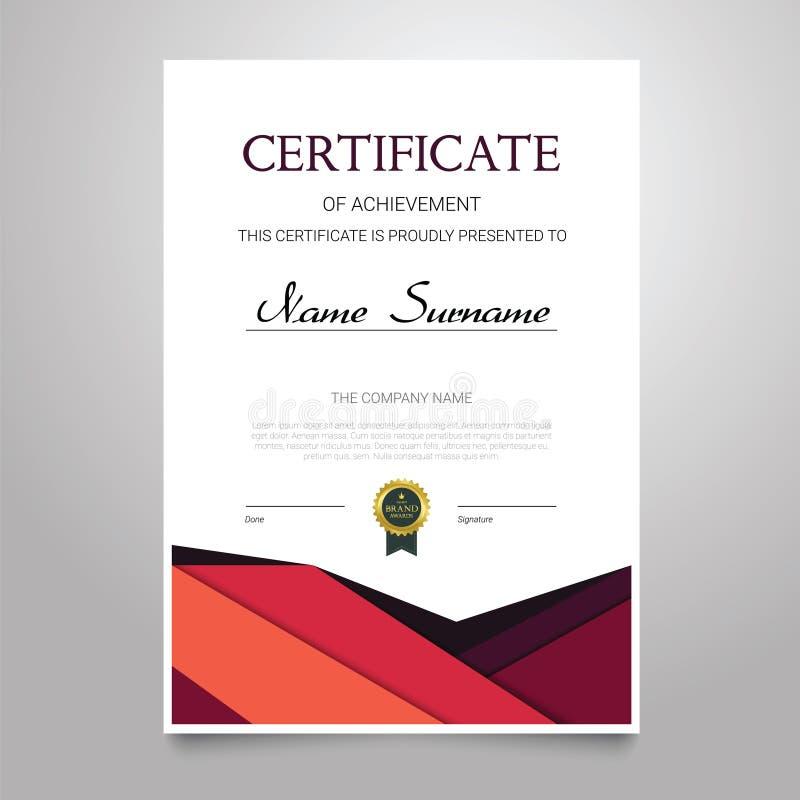 Zertifikat-Schablone - vertikales elegantes Vektordokument lizenzfreie abbildung
