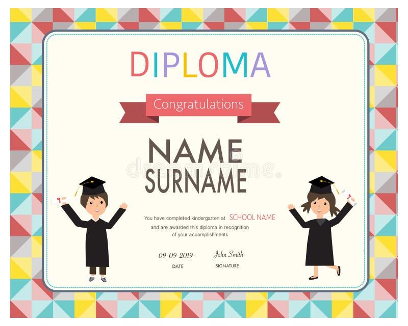 Zertifikat von Kindern Diplom, Vorschule, Kindergartenschablone stock abbildung