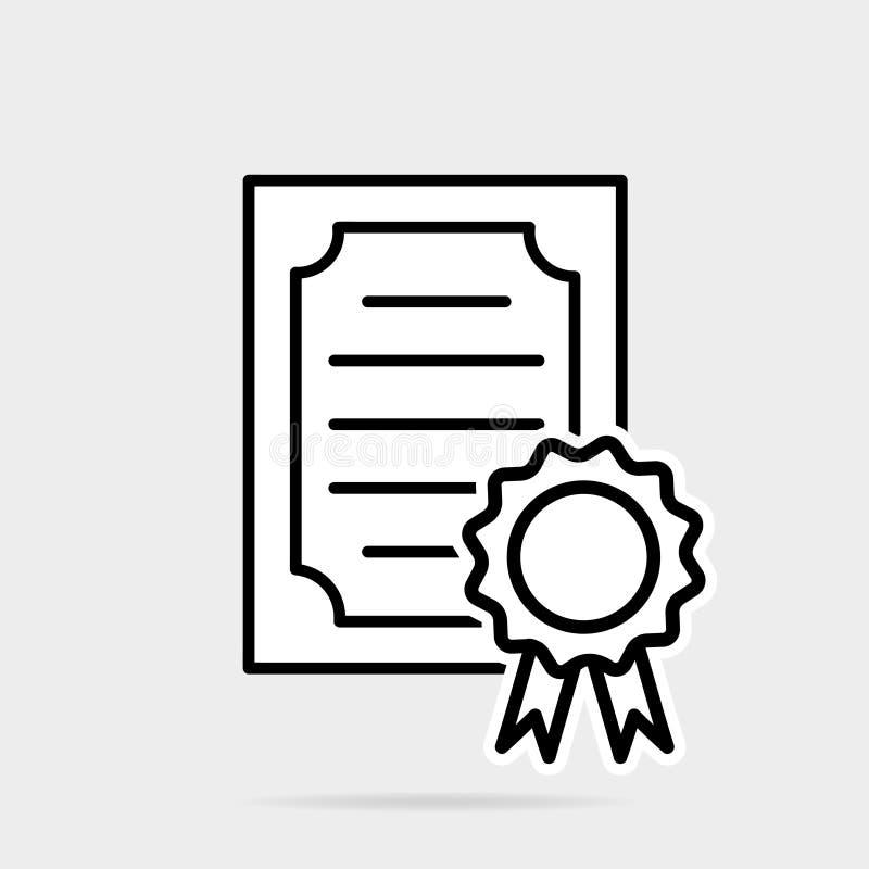 Zertifikatikone in der flachen Art Lizenzausweis-Vektorillustration auf grauem lokalisiertem Hintergrund vektor abbildung