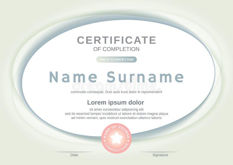 Zertifikatschablone mit ovalem Formhintergrund Zertifikat der Fertigstellung, Preisdiplom-Entwurfsschablone lizenzfreie abbildung