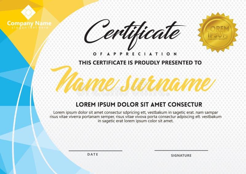 Zertifikatschablone mit polygonaler Art und moderner Mustervektorillustration stockbilder