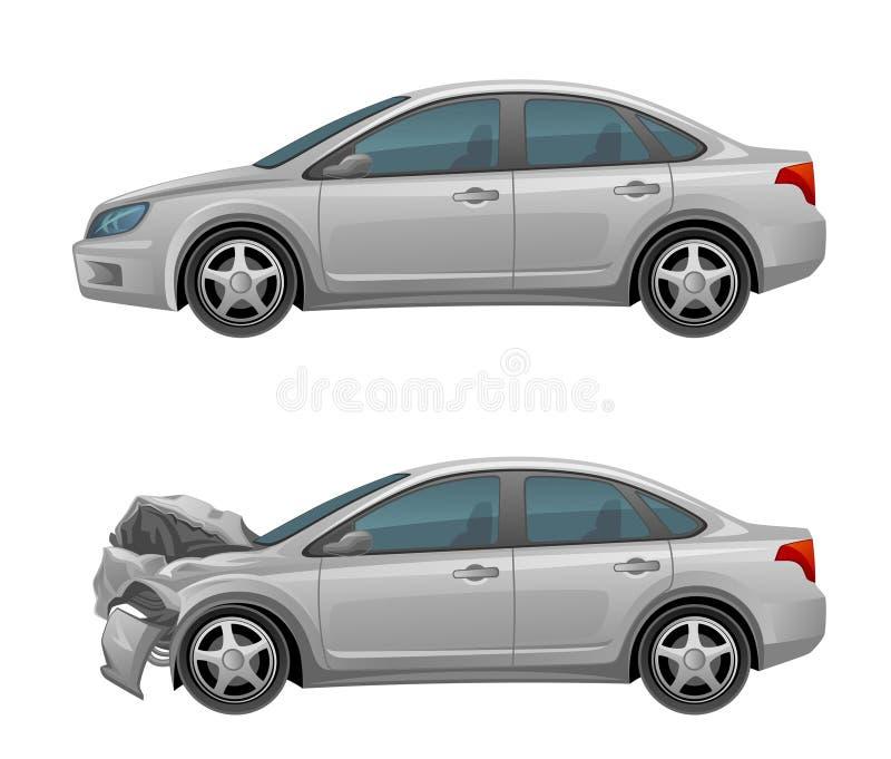 Zertrümmertes Auto stock abbildung