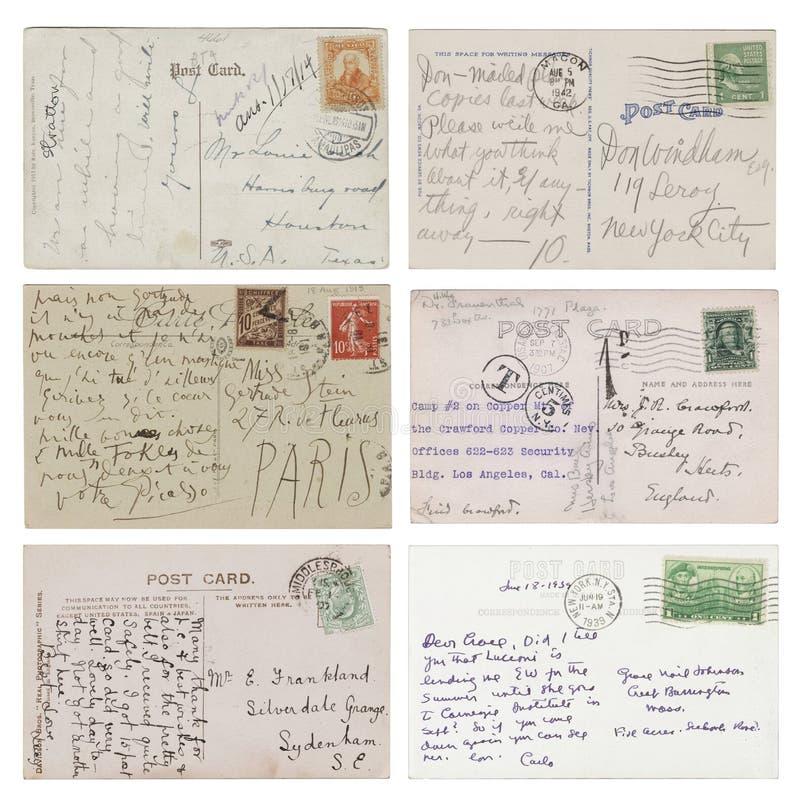 Zes antieke met de hand geschreven Prentbriefkaaren stock foto