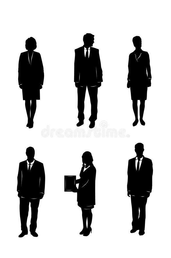 Zes bedrijfsmensensilhouetten stock illustratie