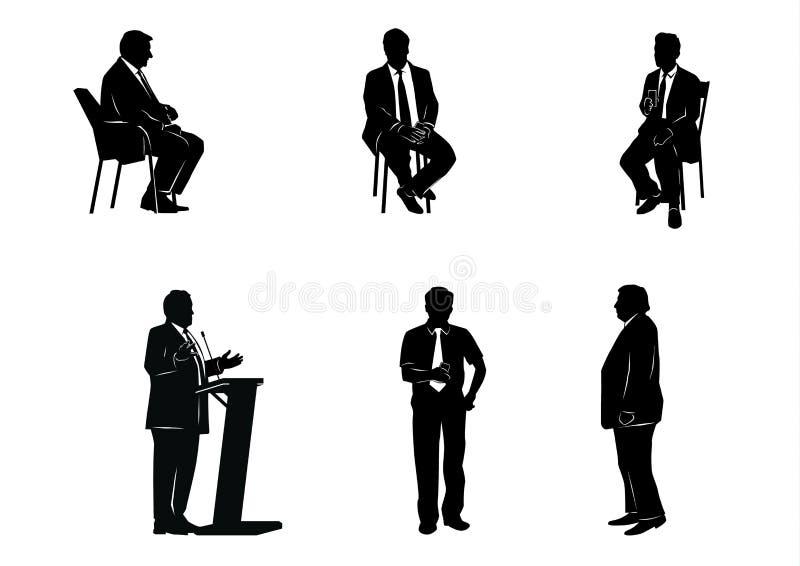 Zes bedrijfsmensensilhouetten royalty-vrije illustratie
