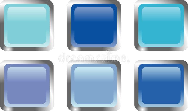Zes blauwe Webknopen vector illustratie