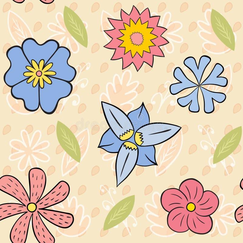 Zes Bloemen Naadloos Patroon stock foto