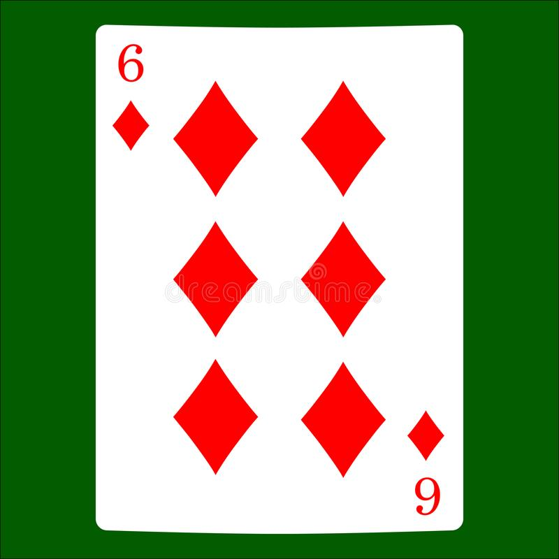 Zes diamanten Het pictogramvector van het kaartkostuum, de vector van speelkaartensymbolen royalty-vrije illustratie