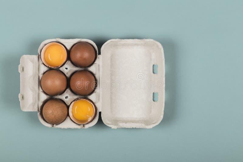 Zes eieren in een open eidoos royalty-vrije stock afbeeldingen