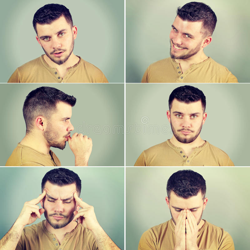 Zes emoties van een mens stock fotografie