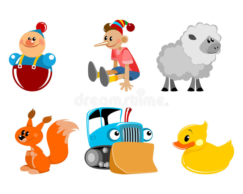 Zes geplaatst speelgoed royalty-vrije illustratie