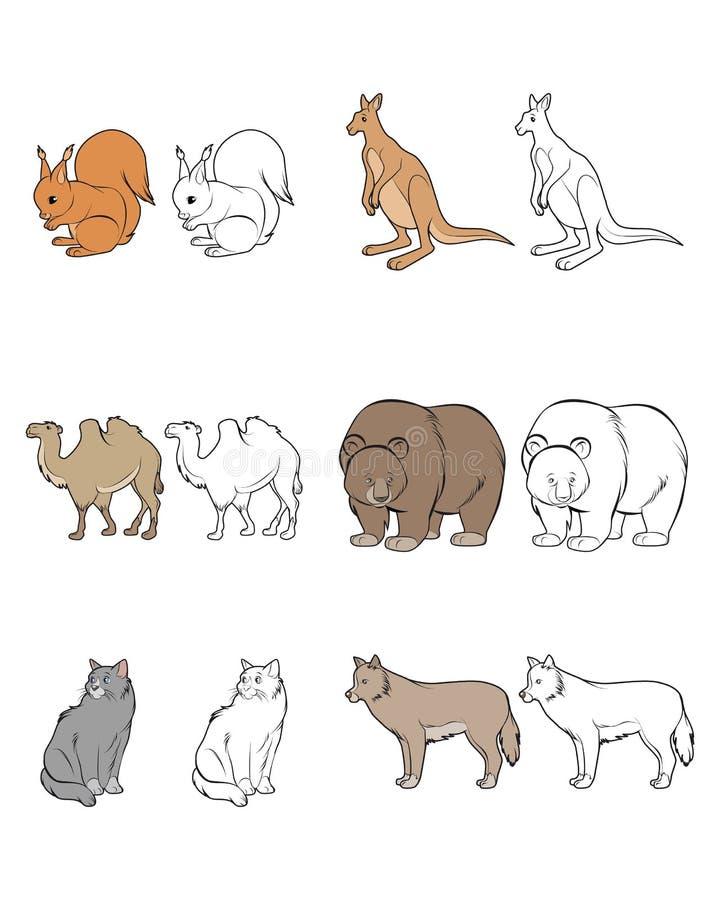 Zes geplaatste dieren royalty-vrije illustratie