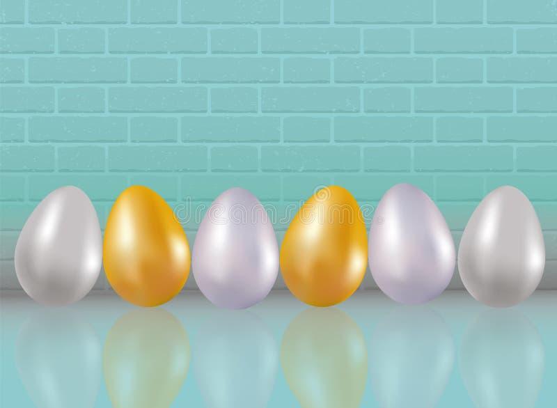 Zes geschilderd of kleuren geverft in metaalgoud, silve, platina kippeneieren op blauwe bakstenen muurachtergrond met reflaction  vector illustratie
