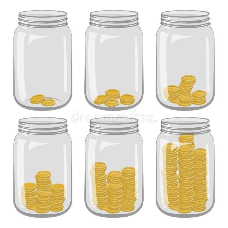 Zes glaskruiken met verschillend aantal muntstukken binnen op een wit royalty-vrije stock afbeelding