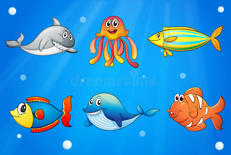 Zes glimlachende overzeese schepselen onder diepzee stock illustratie