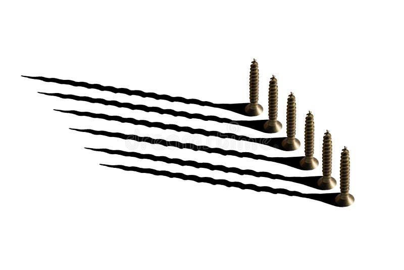 Zes gouden schroeven en hun schaduwen op een witte achtergrond royalty-vrije illustratie