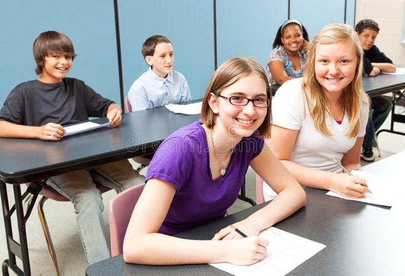 Zes Jonge geitjes van de School in Klasse