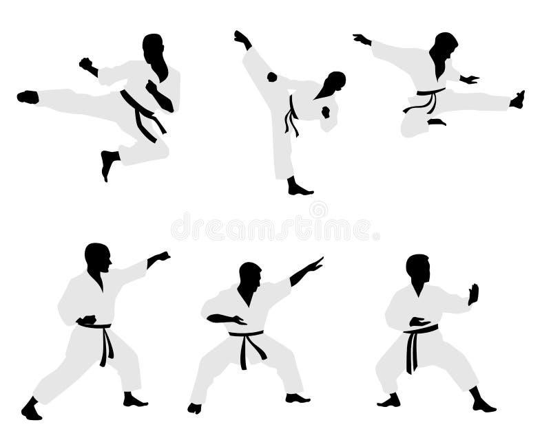 Zes karatekasilhouetten stock illustratie