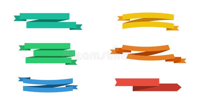 Zes kleurrijke vector geïsoleerde Lintenbanners De inzameling van lintenbanners Banden in vlak ontwerp vector illustratie