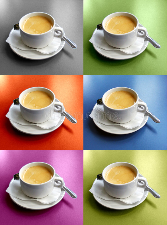 Zes koffiekoppen royalty-vrije stock afbeelding