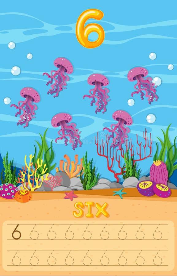 Zes kwallen onderwateraantekenvel stock illustratie