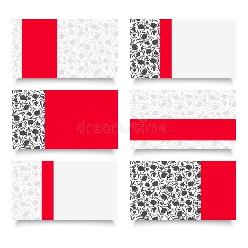 Zes moderne adreskaartjes met bloemenpatronen. vector illustratie