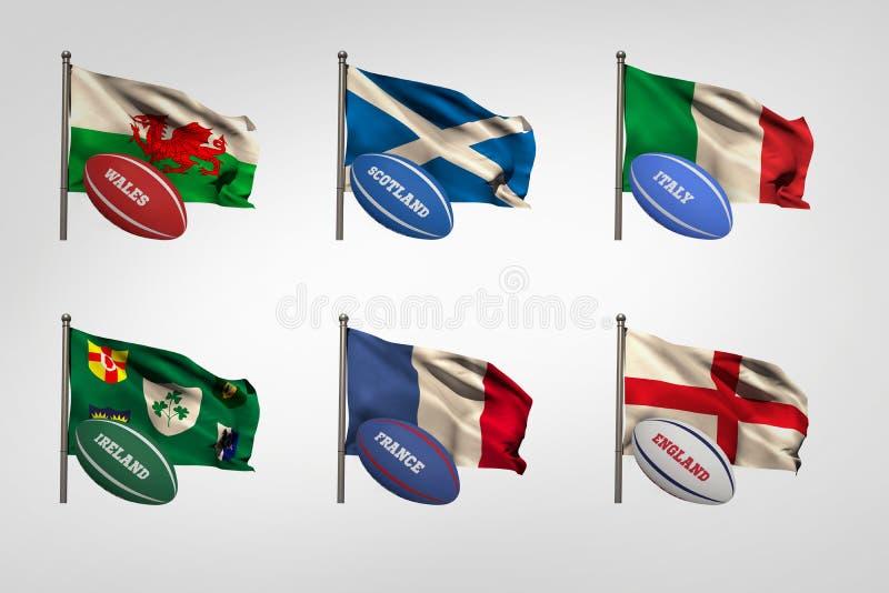 Zes natiesvlaggen royalty-vrije illustratie