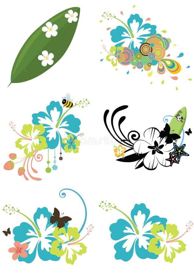 Zes ontwerpelementen met Hawaiiaanse bloemen op summe