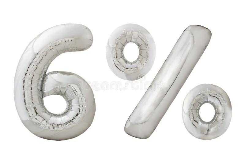 Zes percenten verchromen metaalballons op wit royalty-vrije stock fotografie