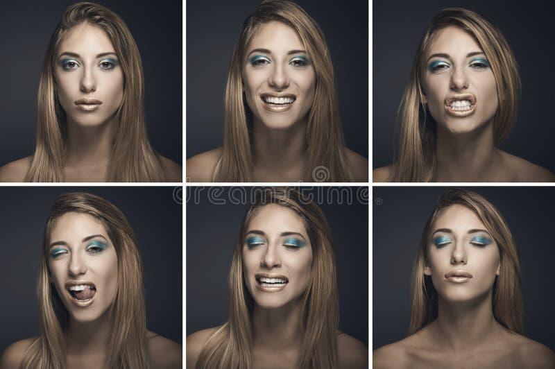 Zes portretten van sexy jonge vrouw in verschillende uitdrukkingen stock foto's