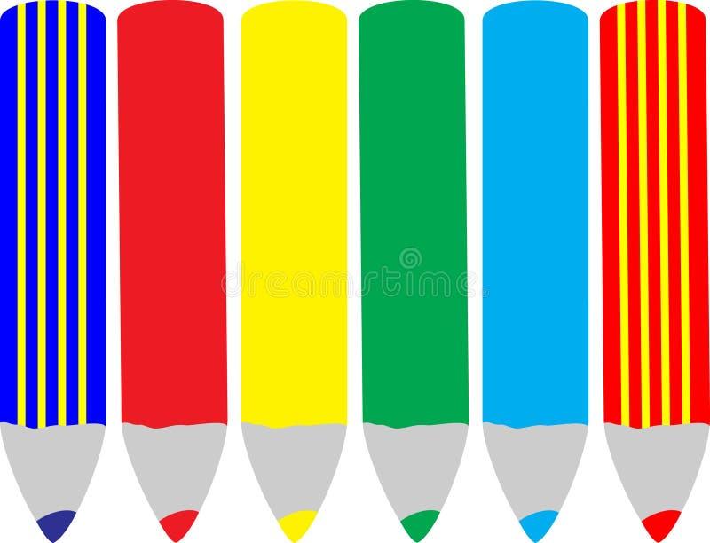 Zes potloden vector illustratie