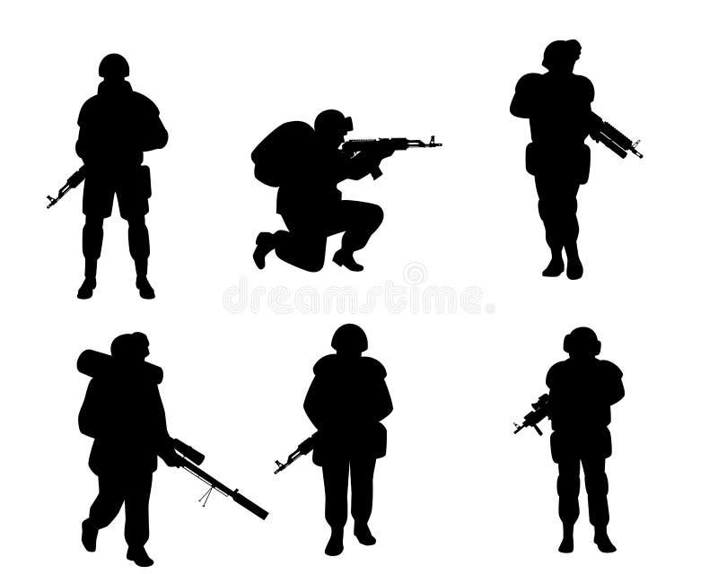 Zes silhouetten van militairen royalty-vrije illustratie